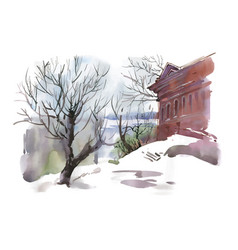 Watercolor winter sketch of building and trees vector