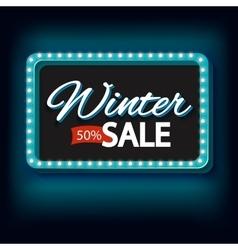 Winter sale with purple lights vintage frame vector