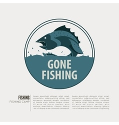 Vintage fishing label badge poster template or vector