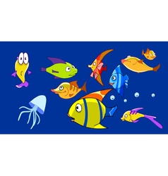 Cartoon aquarium with funny fish vector