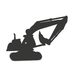 Excavator silhouette isolated icon vector