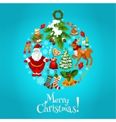 Christmas round bauble ball for xmas card design vector