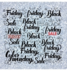 Black friday set over silver vector