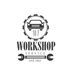 Car repair workshop service black and white label vector