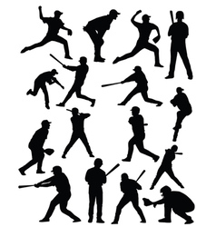 Baseballer silhouettes vector image