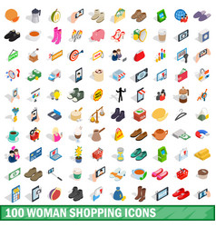 100 woman shopping icons set isometric 3d style vector image