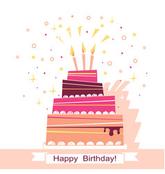 Birthday sweet cake card vector