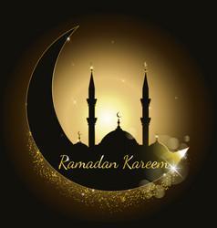 Ramadan kareem background with mosque silhouette vector