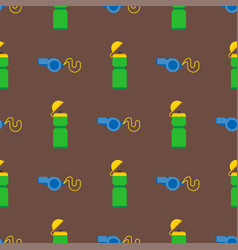 referee whistle and sport bottle seamless pattern vector image