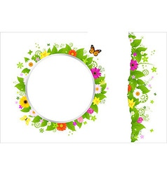 Circle and border from flowers vector