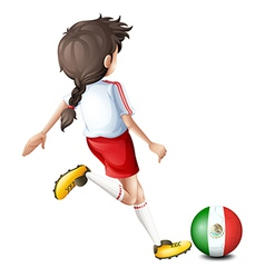 A player using the ball with the flag of Mexico vector image