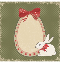 Vintage card with easter bunny and egg form vector