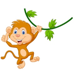 Cute monkey hanging giving thumb up vector