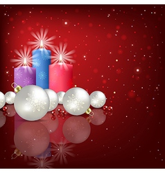Abstract red background with christmas decorations vector
