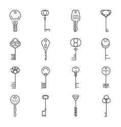 Linear key icons vector