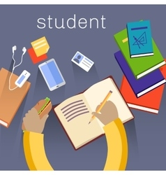 Work space student design flat vector