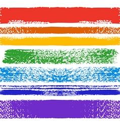 Set of rainbow grunge seamless brushes vector image