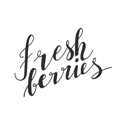 Fresh fruits hand drawn text vector