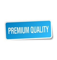 Premium quality blue square sticker isolated on vector