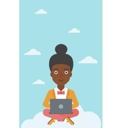 Woman using cloud computing technology vector