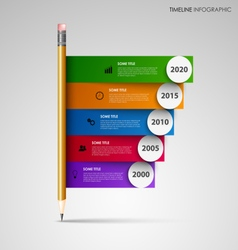 Time line info graphic with pencil and colored vector
