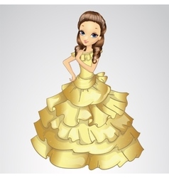 Beautiful princess in gold dress vector