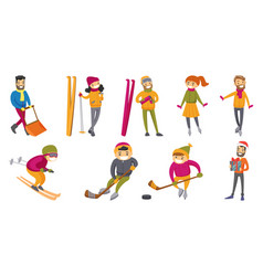caucasian white people playing winter sports set vector image
