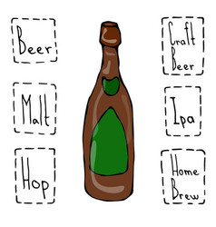 craft beer bottle doodle style sketch hand drawn vector image vector image