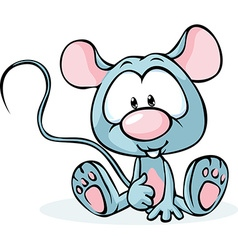 cute grey mouse sitting isolated on white vector image vector image
