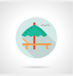Deckchair with umbrella flat round icon vector