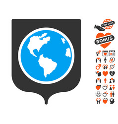 earth shield icon with love bonus vector image vector image