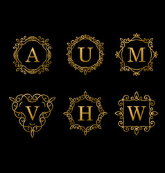 elegant gold monogram design on black background vector image vector image