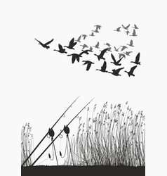 Fishing rod on the shore of the lake and geese vector