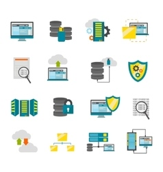 Flat Datacenter Icon Set vector image vector image