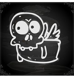 Flying Skeleton Drawing on Chalk Board vector image