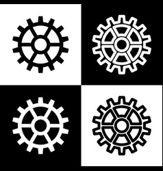 Gear sign black and white icons and line vector