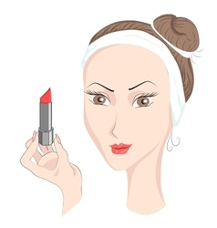 Girl with make up lipstik vector image vector image