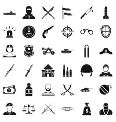 grenade icons set simple style vector image