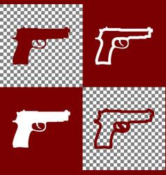 Gun sign bordo and white vector