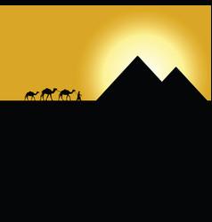 Gypt pyramids with camel caravan on sunset vector