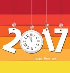 Happy new year 2017 clock seasons greetings vector