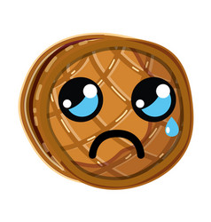 Kawaii cute crying waffles with honey vector