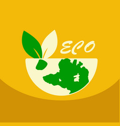 leaf in hand logo organic life symbol eco planet vector image vector image