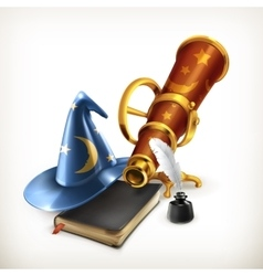 Magician hat and telescope vector image vector image
