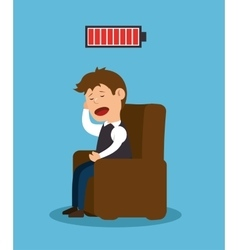 Man sitting stress problem mental icon vector