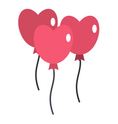 Pink balloons in shape of heart icon isolated vector