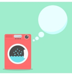 red washing machine with soap speech bubbles vector image