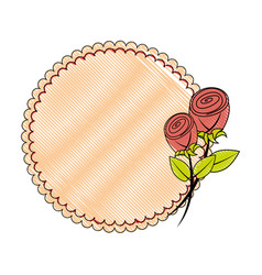 Round frame with flowers vector