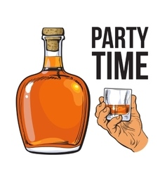 Rum bottle and hand holding full shot glass vector