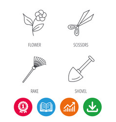 Scissors flower and shovel icons vector